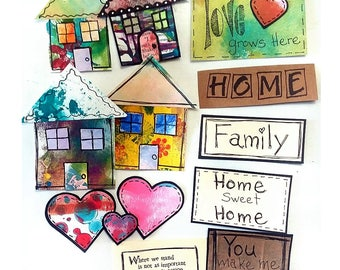 House, Family, Home set, Scrapbook Embellishment, DIY Scrapbooking Kit, Mixed Media Artwork, Captions, Sayings, Titles, Handmade,Hearts