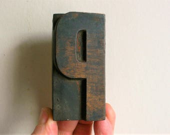 "Letterpress Wood Type P - 3"" Tall 7.5 cm/ Antique Letterpress Wood Printer's Block HAND CARVED rustic"