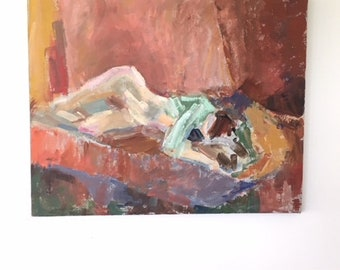 Painting on Canvas of Reclining Lady