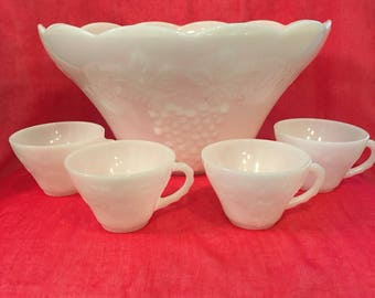 Vintage white milk glass punch bowl with 4 punch cups