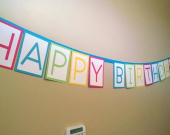 Colorful Happy Birthday Banner- Pink, Blue, Green, Yellow
