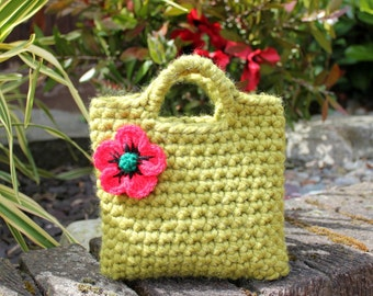 Little Girl Little Purse in meadow green with poppy flower, baby girl gift, flower girl bag