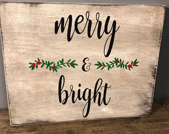 Distressed whitewashed Merry & Bright holiday sign
