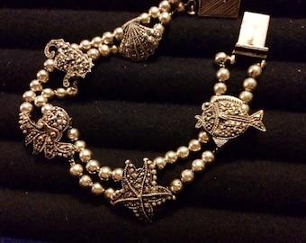 Vintage Sterling Silver and Marcasite Sea Life Bracelet