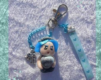 Jewel Bag Little Pixie Boy Aquarius Zodiac- Fairy decoration- Keychain Aquarius - Oaak fairy miniature - Birth or birthday gift
