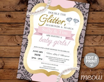 Double The Glitter It's Twins Girls Baby Shower Invite INSTANT DOWNLOAD Pearls Diamonds Pink Invitation Personalize Editable Printable Party