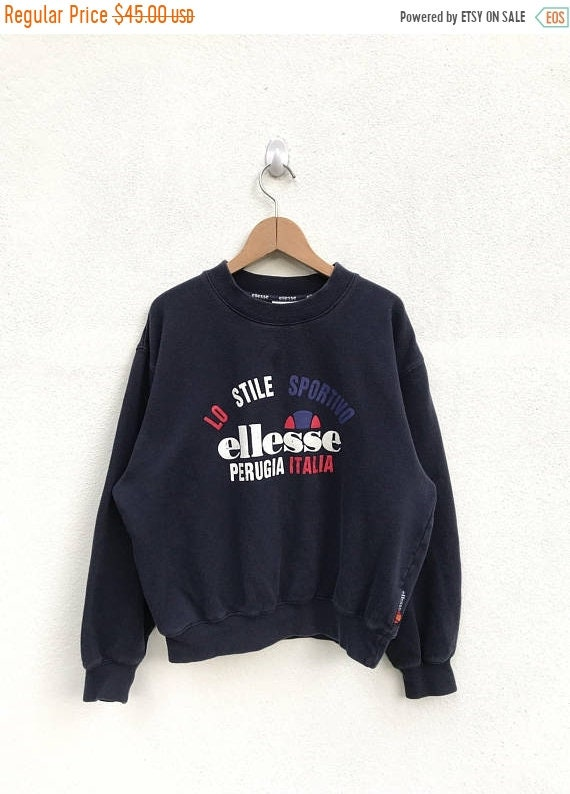 vintage ELLESSE italia sweatshirt half zipper/big logo/colorfull
