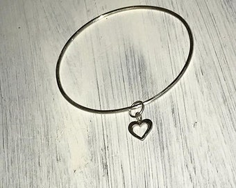 Solid Silver Open Heart Bangle