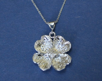 """pendant dogwood blossom, sterling silver, 16"""" sterling chain"""