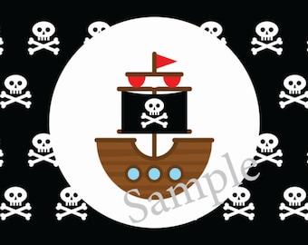 Ahoy Matey Pirate Birthday Water Bottle Label
