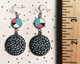 Seeing Stars, Fabric Button Earrings, Geometric, Drop Dangles, All over dots, Color Wheel, Minimal, Modern, Fashion Earrings