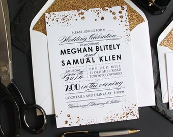 Glitter Wedding Invitations / Gold wedding invitations/ DIY PRINTABLE wedding Invites / Custom wedding invites / Formal wedding invitations
