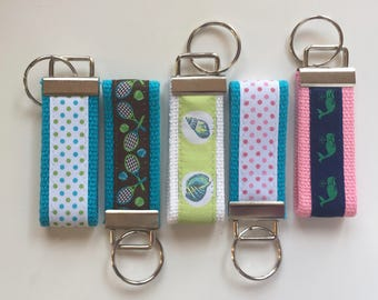 Tennis, Whale, Polka Dot Keychain / Key Fob / Key Chain Great Gift Idea