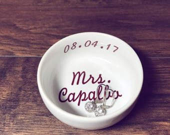 Trending Now - Mrs Ring Dish + Date Engaged | Custom Engagement Ring Holder | Personalized Jewelry Dish | Wedding Gift | Engagement Gift