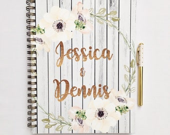 Custom Wedding planning book, bridal planner, wedding planner, wedding organizer, gift for bride to be, rustic wedding, personalized planner