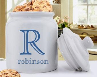 Personalized Cookie Jar - Ceramic Cookie Jar - Family monogram Cookie Jar - GC1077