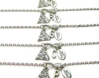 5 Personalized Best Friends Bracelet, Pizza Best Friends Bracelets, Best Friends Bracelets, Bracelets For Best Friends, Initial Bracelets