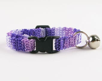 Cat Collar Crochet Puple Lilac Ombre Breakaway Collar Kitty Kitten