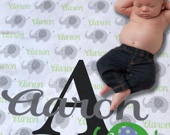 Baby Name Blanket - Elephant Blanket - Custom Baby Blanket - Newborn Photo Prop - Baby Monogram Blanket - Baby Boy Gift Ideas - Baby Gift