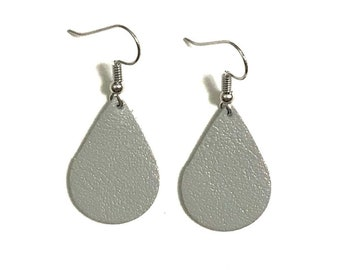 Small Leather Earrings; Leather Earrings; Leather Teardrop Earrings; Grey Leather Earrings; Lightweight Earrings; Statement Earrings