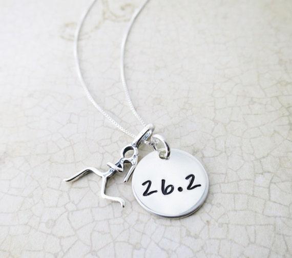 Marathon Necklace / Half Marathon Necklace / Runner Girl / Runner Necklace / 26.2 / 13.1 / Runner Gift / Marathon Gift / Sterling Silver