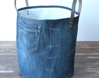 large storage basket made of old jeans - laundry basket - XXL basket - toy bin - storage - basket canvas