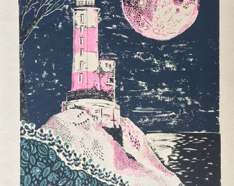Lighthouse 4 Colour Screenprint 50x70 Unframed