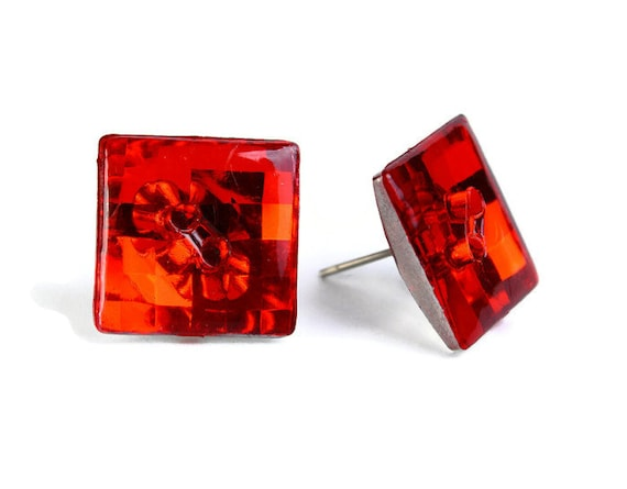 Sale Clearance 20% OFF - Red ruby vintage disco mosaic square button studs posts earrings READY to ship (464)