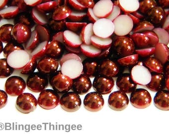 500 4mm Burgundy Flatback Faux Half Round Pearls Embellishments Diy Deco Cabochons Craft Supplies