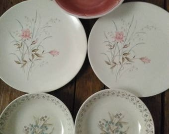 Mismatched Dishes 2 plates, 2 bowl and 1 serving bowl
