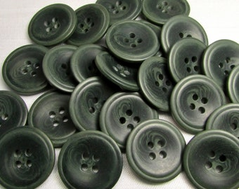 "Moss Green: 13/16"" (21mm) Marbled Green Buttons - Set of 25 New / Unused Buttons"