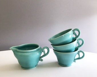 Vintage Franciscan Turquoise Cups and Creamer Set of 4