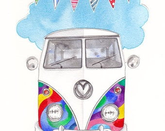 Rainbow Camper - Signed Limited Edition Print.