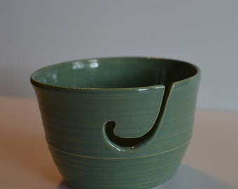 Macha Tea Yarn Bowl, Handmade, Wheel thrown pottery