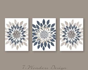 Modern Flower Bursts Neutral Colors Fine Art Print Set of (3) 5x7, 8x10 OR 11x14 Grey Tan Indigo Blue // Cottage, Apartment Decor Unframed