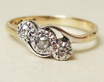 10% OFF SALE Art Deco Old Cut Diamond Trilogy Ring, 9k Gold, Platinum and Diamond Engagement Ring Approx. Size US 6