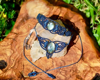 Micro Macrame set, Necklace & Bracelet with Labradorite