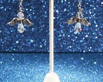 Holiday Christmas Angel Swarovski Crystal Earrings
