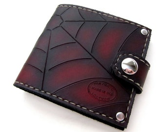 Mens Leather Wallet Red and Black Web Bifold with Snap Can Be Personalized Menswear
