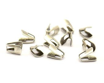 Silver Chain Ends, 10 Antique Silver Plated Brass End Caps For Soldering To Snake Chain Ends (b0059)