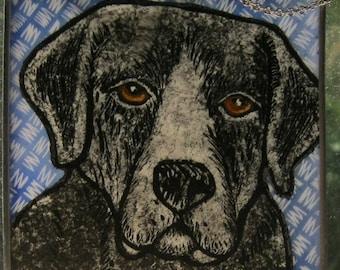 Black Lab Stained Glass Dog Suncatcher JRN234