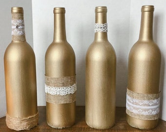 Handmade gold rustic-chic wine bottle vases
