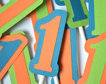 Dinosaur Number Cupcake Toppers Orange, Green & Blue By The Dozen 12