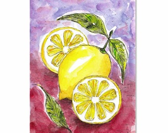 Lemons, Painting, Original Watercolor, Lemon Decor, Kitchen Art, Fruit Artwork, Still Life Drawing, Half Lemon, Lemon Wall Art, Home Decor