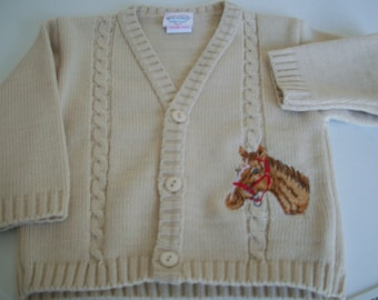 Horse embroidered boys cardigan