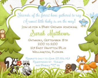 Woodland Forest  Animals Baby Shower Invitation