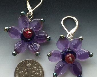 Secret Garden Earrings in purple: handmade glass lampwork beads with sterling silver components