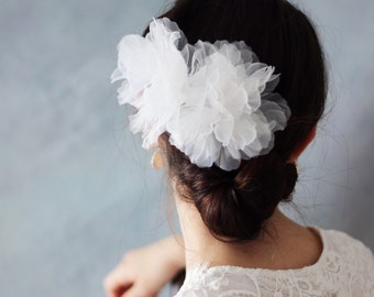 SALE- White hand cut Organza Flower Wedding Bridal Hair Clip Accessory - Wedding hair flower