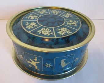 Vintage Round Metal Blue And Gold Tin Fruit Cake Candy Cookie Tin Storage  Decor