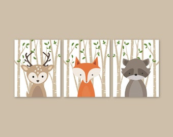Woodland Nursery Decor Set of 3 Forest Animal Prints, Baby Animal Wall Art, Deer Fox, Raccoon or bunny Forest Friends, PRINTS or CANVAS